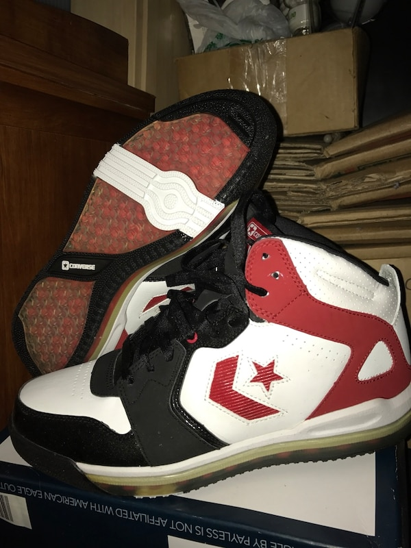 a61fe68f3afc Used Pair of red-black-and-white converse basketball shoes for sale in  South San Francisco - letgo