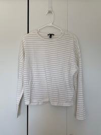 white and gray stripe scoop neck long sleeve shirt Burnaby, V5J