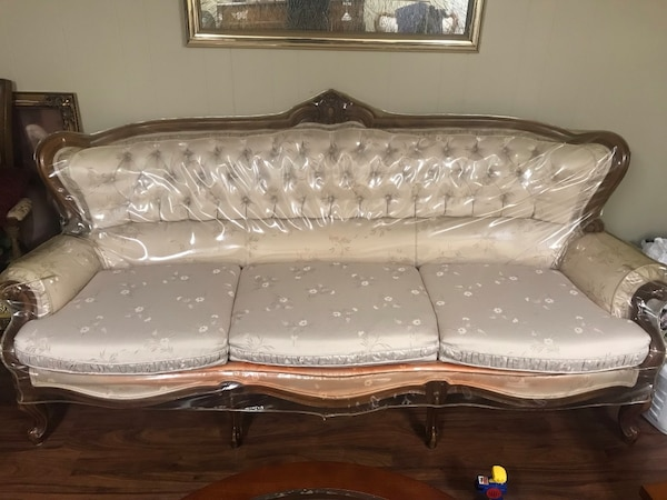Used Must go!! 3 piece Antique sofa set (plastic still on couch) for ...
