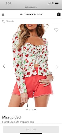 Brand New Missguided Floral Top size US 4 (S/XS)