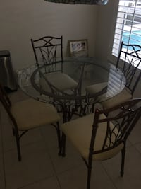 Glass round table with 4 chairs and 2 bar stools Port Orange, 32129