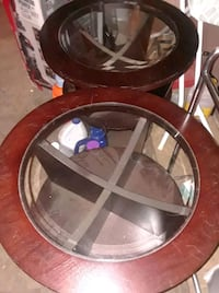 Cherry wood and glass tables(2)