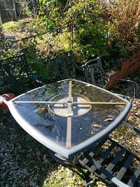 round white metal framed glass top patio table 326 mi