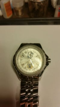 round gold-colored chronograph watch with link bracelet Stafford, 22554