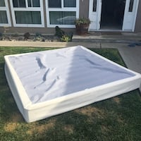 White and blue bed box spring. King size.  Like new. Huntington Beach, 92647