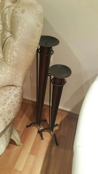 Brown and black candle stand