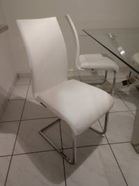 Chrome and White Leatherette Euro Style Modern Chairs, Set of 4 Miami