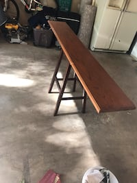 brown wooden folding table with black steel base Takoma Park, 20912