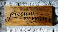 "Handmade wooden sign ""precious memories..."" 37 km"