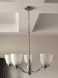5 light brushed nickel chandelier with frosted glass shades  Concord, 28027