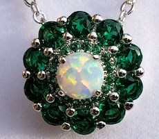 Sterling silver emerald & opal necklace