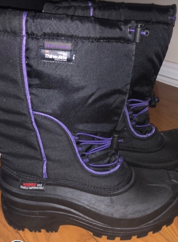 black and purple leather boots