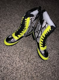Yellow and Black Snake Skin Go Go boots Warren