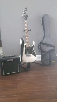 white black and silver ibanez electric guitar and guitar amplifier Barrie, L4M 6N3