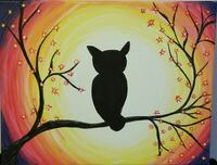 Hand painted silhouette of an owl on stretched canvas  Watsontown, 17777