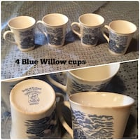 BLUE WILLOW CUPS (4)