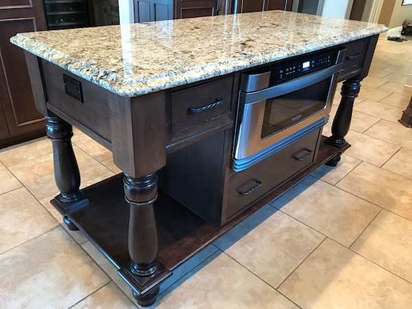 Kitchen Island With Microwave Drawer | Used Kitchen Island Custom Granite Top Sharp Professional