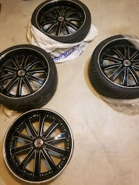 4 Red Sport Rims w 3 tires . ***priced dropped *** Toronto, M1M 1V1