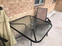 Table, 4 chairs , umbrella, null