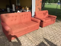 Two red fabric 2-seat sofas Tiny, L0L 2J0
