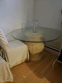 Glass and ceramic table