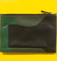 Green and Black Leather Envelope Wallett 1463 mi