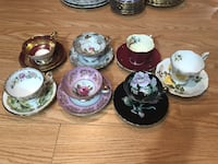 Mix vintage/antique England and Japan cups and saucers. Lot of 7 sets for $80. One cup has a chip at its foot. Hamilton, L9A 1T3