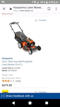 Husqvarna self propelled Lawnmower  Toronto, M6L