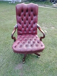 tufted brown leather swivel rolling chair