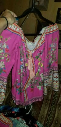 pink and green floral long-sleeved dress Joshua, 76058