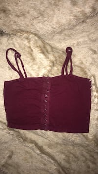 SEXY MAROON CORSET FRONT CROP TOP IN SIZE XS