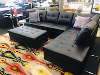 Black Leather Sectional w/ Ottoman Norfolk, 23502