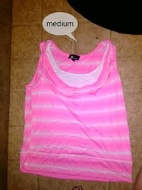 pink and white striped tank top Midland