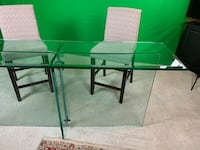 Rectangular glass top table with black metal base Surrey
