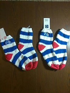two pair of white and blue socks