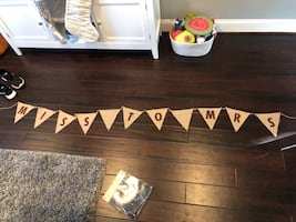 Hand painted bridal shower banner