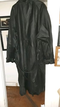 Big Mans Leather Double Breasted Trench Coat  Los Angeles