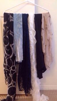 6 Assorted-colored scarfs
