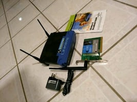 Linksys wireless Wi-Fi router and pc card