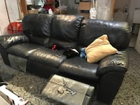 BLUE leather 3-seat recliner sofa null