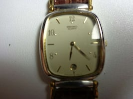 silver square analog watch