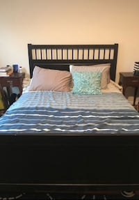 IKEA Hemnes Black wood queen bed frame, comes with slats Washington, 20009