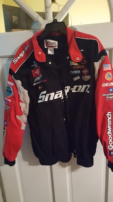 red and black snap-on zip-up racing jacket