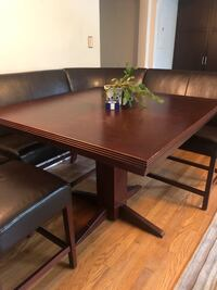 square brown wooden table with 5 brown leather chairs dining set Washington, 20002