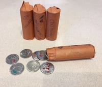 4 Rolls of Coloured/Collectable Canadian Quarters (.25) , V9A