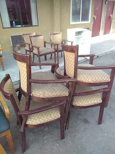 brown wooden armchair lot