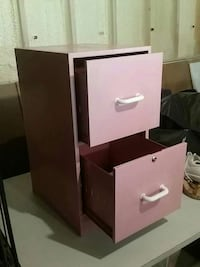 pink steel two-drawer filing cabinet