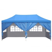 Brand New 10' x 20' Easy Pop Up and Close Canopy Gazebo Tent with Carrying Case  Walnut, 91788