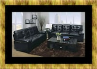 U6900 black bonded leather sofa and loveseat Bowie, 20720