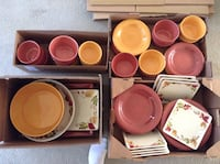 Red and yellow autumn dish set